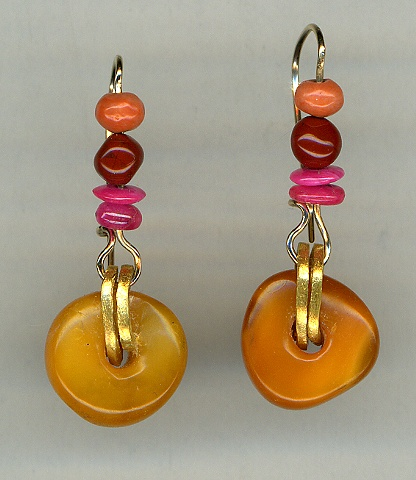Antique Baltic Amber Antique Coral Jasper Mysore Ruby 24kt. Gold