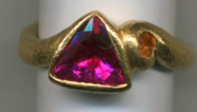 Pink Tourmaline Spessartine Garnet 24kt. Gold