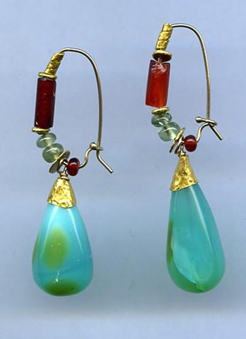 Peruvian Opal Indus Valley Carnelian ~ 900 B.C. Appetite Mexican Cherry Opal 24kt. Gold