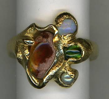 Mexican Matrix Opal, Australian Opal, Tourmaline and Abalone Pearl with 24kt. Gold