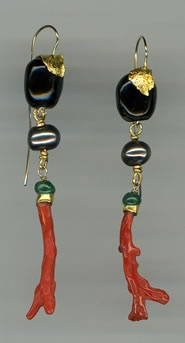 Red and Black Coral Chinese Freshwater Pearls Malachite 24kt. Gold