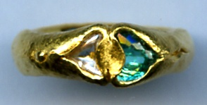 Paraiba Tourmaline Diamond Crystal 24kt. Gold