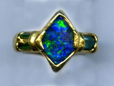 Opal Emerald Tourmaline 24kt. Gold