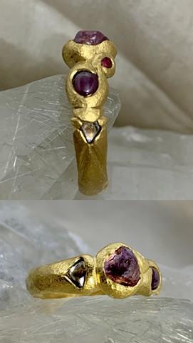 Rough Garnet Crystal Rubies Diamond Crystals 24kt. Gold