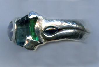 Afghanistan Tourmaline Crystal Sapphire Fine Silver