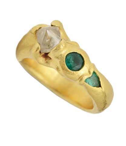 Natural Diamond Emeralds 24kt. Gold