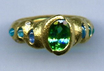 Paraiba Tourmaline Diamond 24kt. Gold