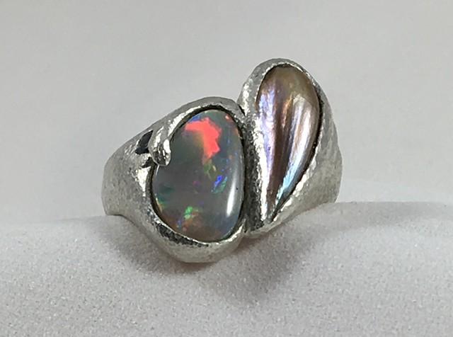 Australian Opal Mississippi Wing Pearl Montana Sapphire Fine Silver
