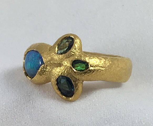 Australian Opal Green Sapphire Tsavorite Garnet Blue Tourmaline Paraiba Tourmaline 24kt. Gold