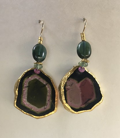 Watermelon Tourmaline Green Tourmaline Ruby 24kt. Gold 14kt. Gold