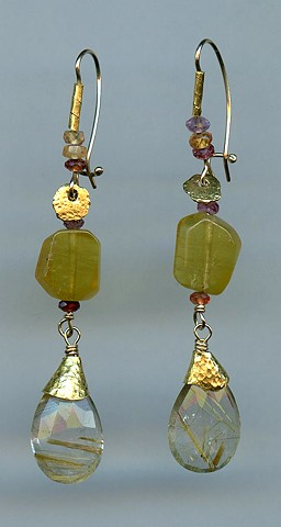 Rutilated Quartz Golden Beryl Golden Sapphire 24kt. Gold
