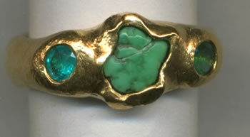 Paraiba Tourmaline with Turquoise and 24kt. Gold