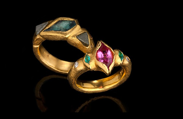 Alexandrite Diamond Crystals 24kt. Gold  Spinel Paraiba Tourmaline Diamond 24kt. Gold