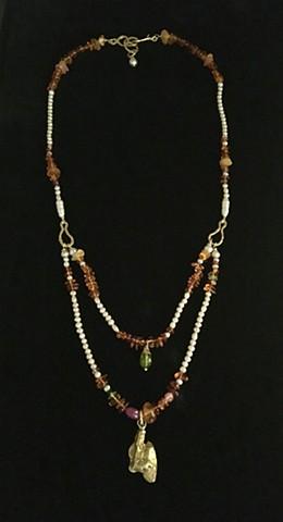 Freshwater Pearls Ancient Baltic Amber Peridot Mysore Ruby Black Diamond Natural Gold Nugget 24kt. Gold