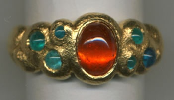 Spessartine Garnet and Paraiba Tourmaline with 24kt. Gold