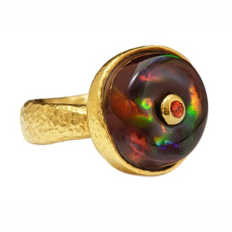 Opal Orange Sapphire 24kt. Gold