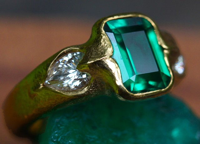Emerald Diamond 24kt. Gold