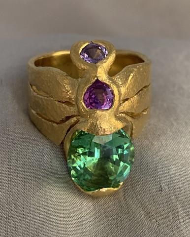 Mint Tourmaline Sapphires 24kt. Gold