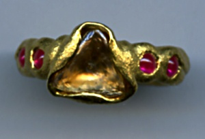 Cognac Diamond Macle Ruby 24kt. Gold