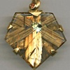 Rutilated Quartz  Orange Sapphire  24kt. Gold