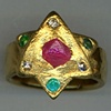 Natural Ruby Crystal Natural Diamond Crystals  Paraiba Tourmaline  24kt. Gold