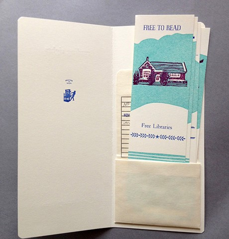 artist's book with 4 bookmarks about freedom of speech, freedom of privacy