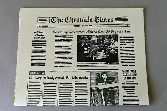 two sided linoleum cut newspaper