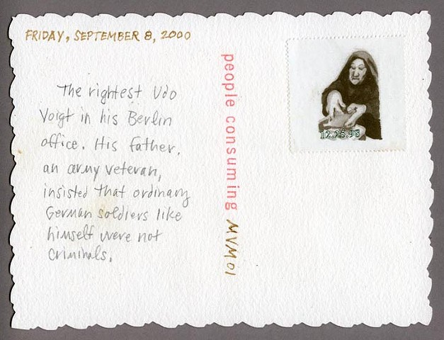coffee postcard, verso Sept 8, 2000