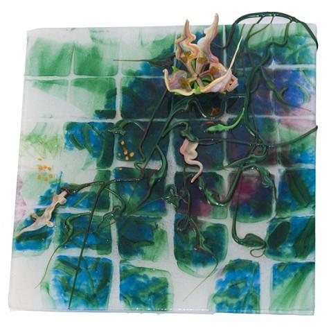 floral, vine, quilt, blue