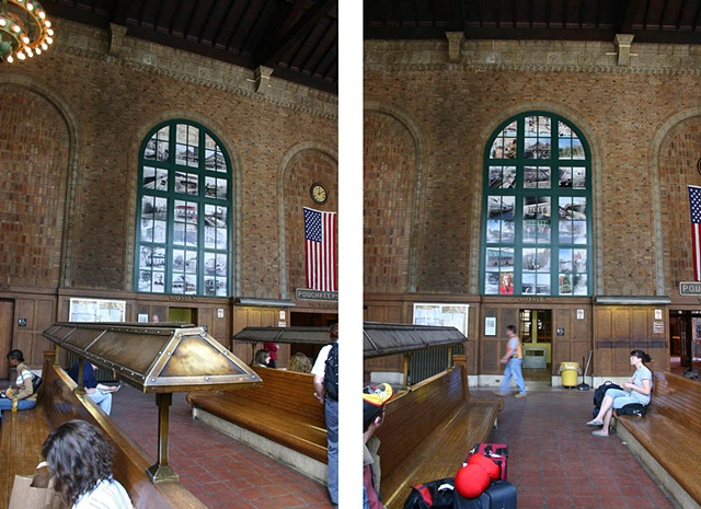 Two views of the west window showing the the different lenticular phases