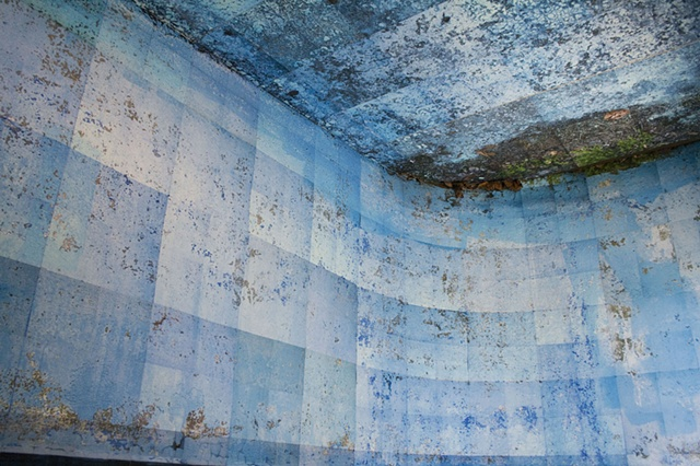 DEEP END is a mosaic photograph of the deep end of an abandoned Catskill resort swimming pool turned upside down.
