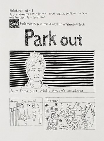 yangbinpark, print, screenprint, drawing, CNN, politics, history, news, documentation, text, writing, Park, court
