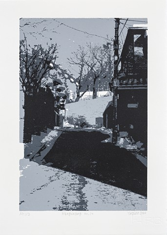 screenprint, Yangbin Park, printmaking, landscape, identity, roaming