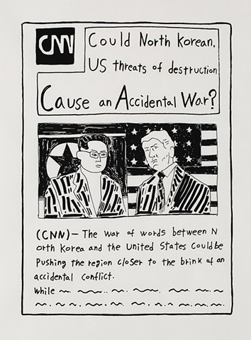 yangbinpark, print, screenprint, drawing, CNN, politics, history, news, documentation, text, writing, Trump, Kim, war