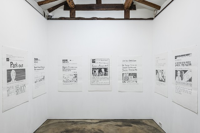 yangbinpark, print, screenprint, drawing, printmaking, BBC, CNN, NYT politics, history, news, documentation, text, writing, installation