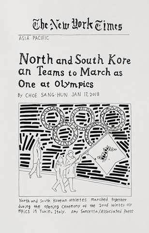 yangbinpark, print, screenprint, drawing, NYT, politics, history, news, documentation, text, writing, Olympics, winter, opening