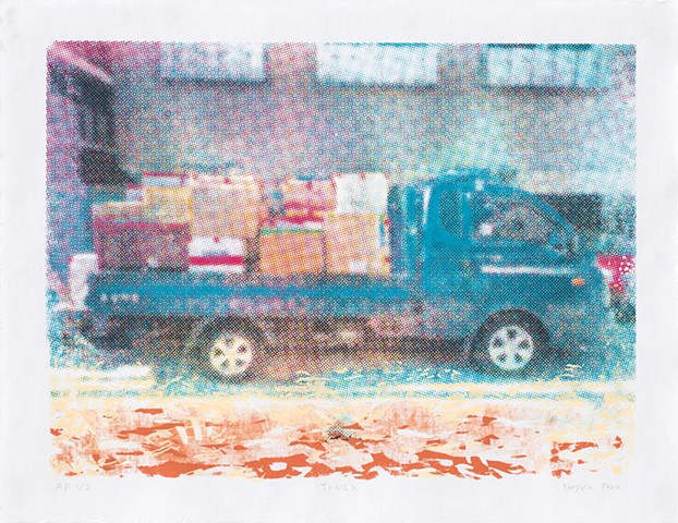 screenprint, Yangbin Park, printmaking, truck, moving