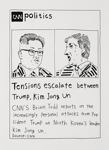 yangbinpark, print, screenprint, drawing, CNN, politics, history, news, documentation, text, writing, Trump, Kim