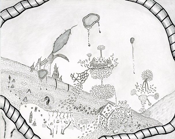 drawing, imagination, ink, pen, graphite, abstract, narrative, doodling, mark making