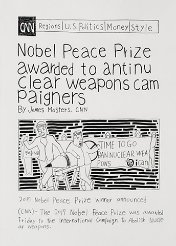 yangbinpark, print, screenprint, drawing, CNN, politics, history, news, documentation, text, writing, Nobel peace prize, nuclear