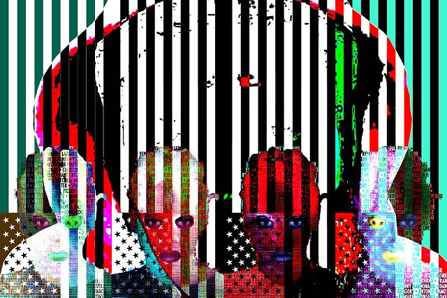 Op/Pop Art that uses language, symbols,color & photos to discuss issues