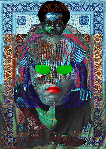 Op/Pop Art that uses language, symbols,color & photos to discuss issues of identity and memory.