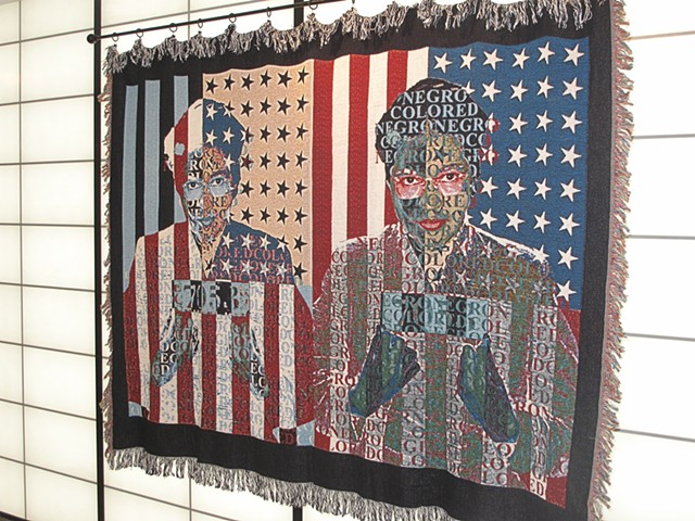 Post Modern portrait photo tapestry of historical figure Rosa Parks. Exhibited at Beverly Arts Center 2012