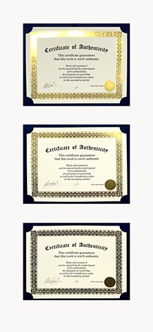 Certificate of Authenticity (Edition of 3)