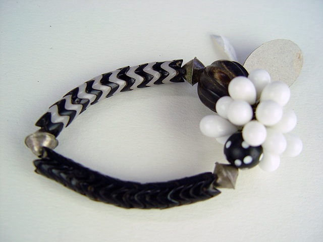 110  Bracelet - Black and White Snake