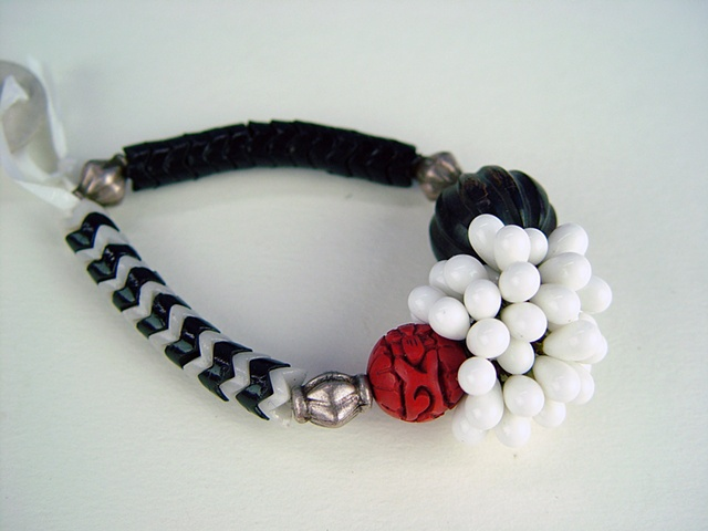 111  Bracelet - Cinnabar, Black and White