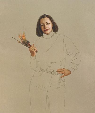 Sybille Pfaffenbichler, fast, scorch marks, speed, fiery brushes.