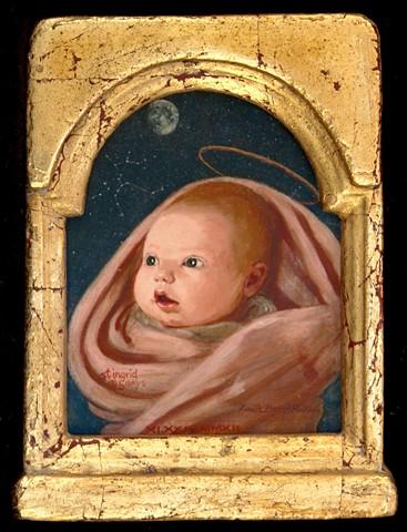 Lucille Berrill Paulsen, icons, saint, halos, child, baby, phase of moon, stars, astrological sign, scorpio, goose, Ingrid Wharton, Ingrid Evelyn Paulsen Wharton