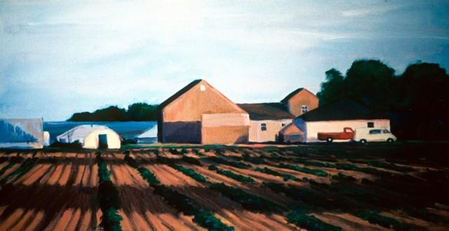 Water Mill NY,  farm buildings, farm fields