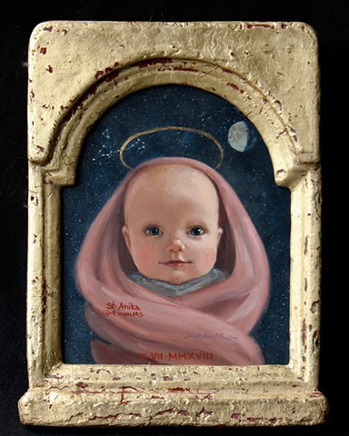 Icons, saint, halos, child, baby, phase of moon, stars, astrological sign, Pices, Anika Wharton, Lucille Berrill Paulsen